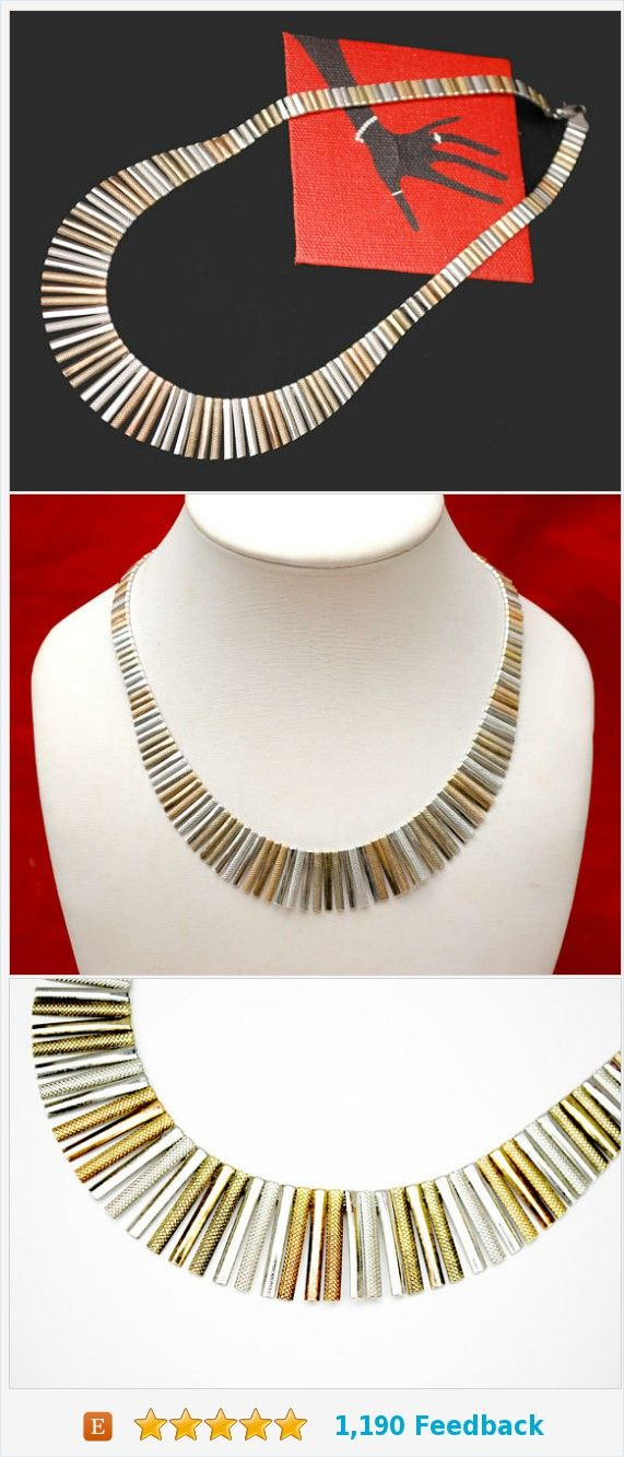 Cleopatra Fringe Necklace - Italy Italian - Sterling silver - Gold plated - mix metal - Collar choker necklace https://www.etsy.com/serendipitytreasure/listing/545321252/cleopatra-fringe-necklace-italy-italian?ref=listing_published_alert