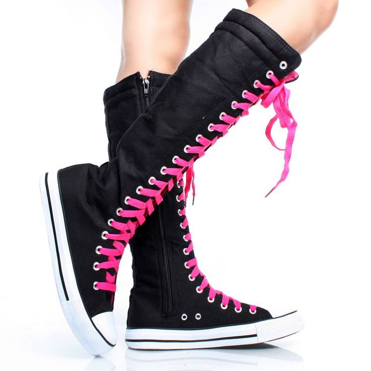 Black-Hot-Pink-Canvas Emo Color Laces Women Sneakers Knee High Boots ~Emo