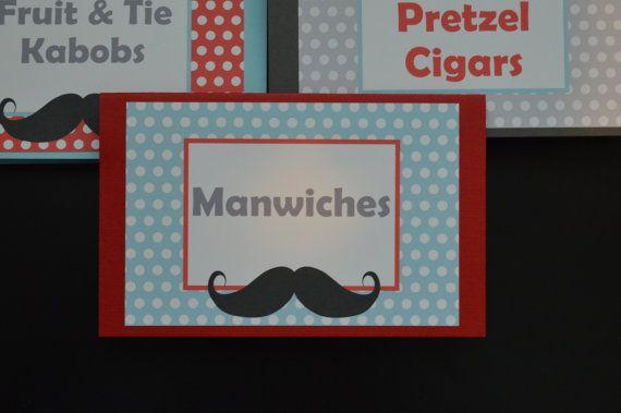 Moustache tableau chevalets Food Label Place - moustache Bash alimentaire tente - moustache anniversaire - tentes de nourriture petit homme - Manwiches - Set de 6