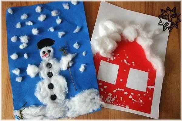Výtvarné nápady na zimu, tvoříme s dětmi sněhuláky, zasněžené domečky, tvořime z vaty, otisky vatové tyčinky