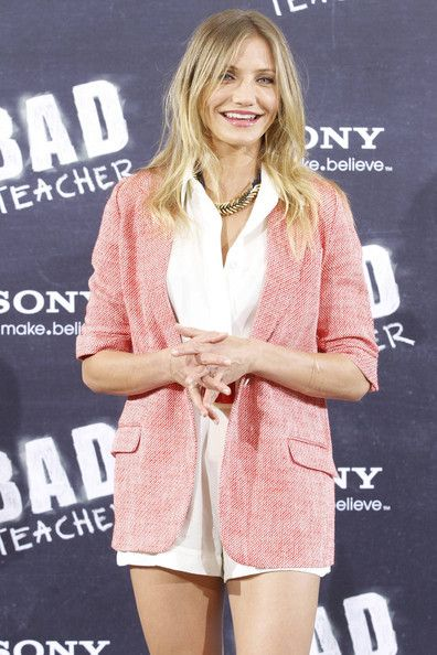 "Cameron Diaz Photos Photos - Cameron Diaz looking leggy in short shorts at the photocall for her new movie ""Bad Teacher"" in Madrid. Cameron teams up with ex-boyfriend Justin Timberlake for the film, which sees her play a foul mouthed, morally questionable high school teacher. - Cameron Diaz at the photocall for 'Bad Teacher' in Madrid"