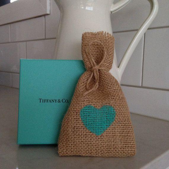 Aquamarine Hessian/ Burlap Wedding Favor Bags by BreeWestwood, $1.50