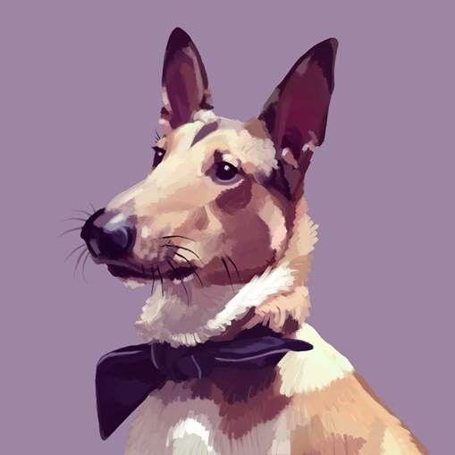 ''Oiva'' the dog, showing off his Finlayson 'Doggy Style' bow tie in this talented digital painting that we received. || Oiva-koira komeilee Finlaysonin mirri kaulassa Jenni Juntusen digimaalauksessa.