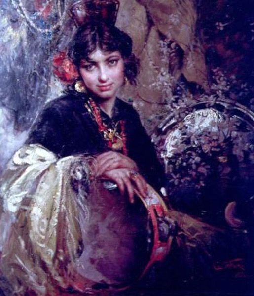 Tambourine, Clemente Tafuri; Italian Gypsie woman