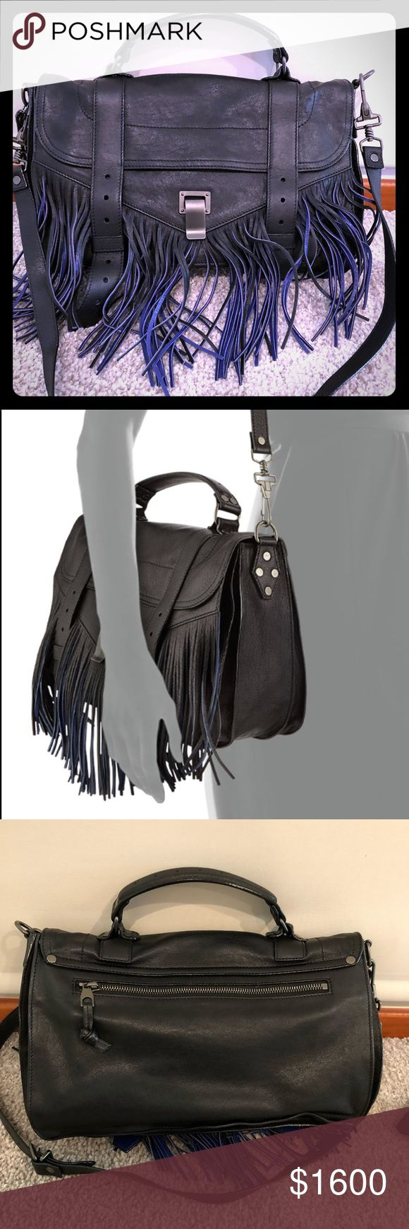 "Proenza Shouler Bicolor Fringe Medium PS1 Proenza Schouler lambskin leather satchel bag with gunmetal hardware. Removable shoulder strap with 16"" drop. Tote handle; 2.5"" drop. Flap top trimmed in long bicolor fringe; double belted details and flip lock. Front zip and snap pocket concealed beneath flap. Interior, logo jacquard lining; center snap tab; one zip pocket. Exterior, back zip pocket; logo plate hangs at one side. 8.5""H x 12.5""W x 4""D. Made in Italy. Gently used without any…"