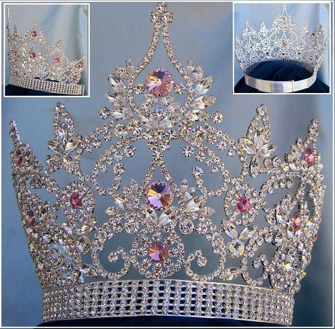 Continental Adjustable Silver Pink Rhinestone Crown Tiara