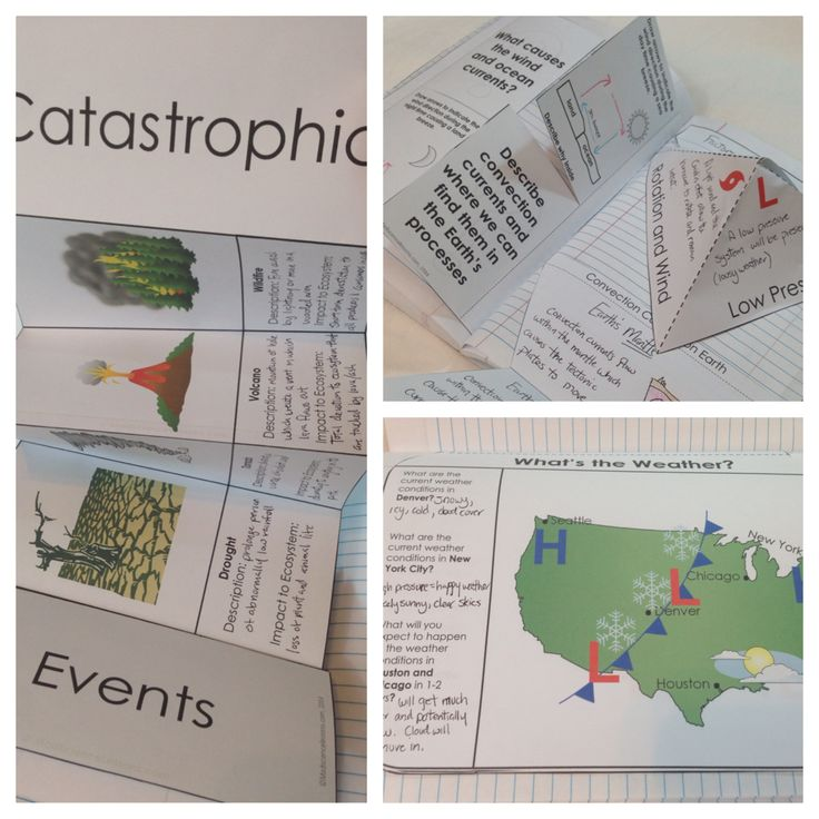 Weather Interactive Notebook Pages - catastrophic events, weather maps, weather symbols, warm and cold fronts, chemical and mechanical weathering, convection currents, hurricanes, weather instruments