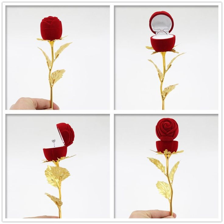 Folha de ouro de 24 k rosa de ouro presente do dia dos namorados flor rosa de ouro com anel para casamento proposta jóias em Flores decorativas & Grinaldas de Home & Garden no AliExpress.com | Alibaba Group