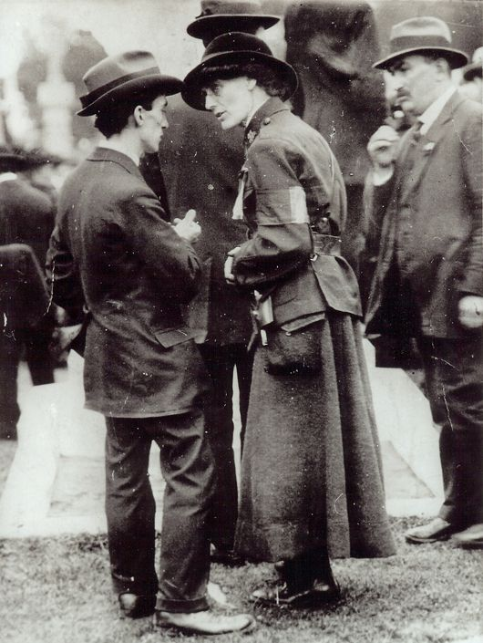 Constance Markievicz with Jas Connolly in background
