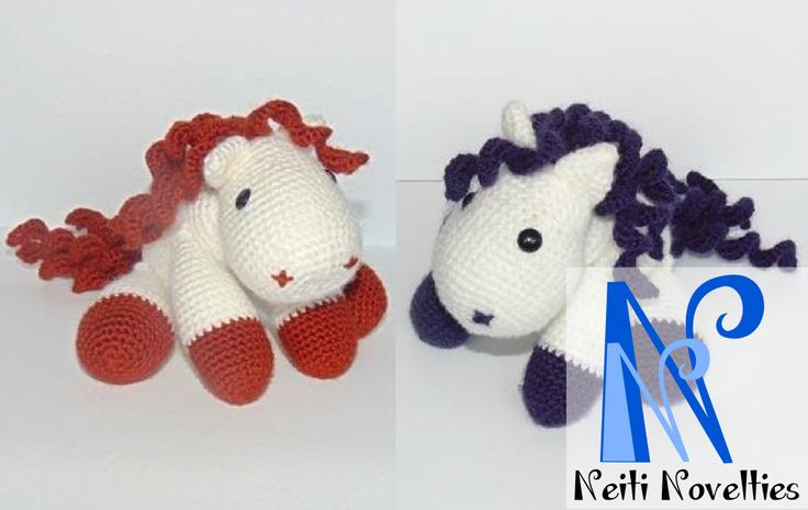 Two ponies, made with Litte Yarn Friends pattern http://littleyarnfriends.com/post/24411665124/crochet-pattern-lil-baby-unicorn