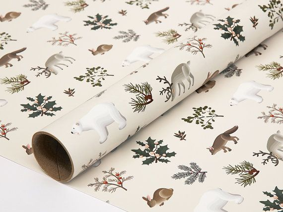 Winter dieren Christmas Wrapping Paper Cream door clapclapdesign ★ Etsy L O V E