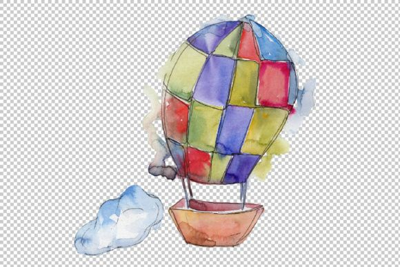 Watercolor Hot Air Balloon Png Set Hot Air Balloon Air Balloon