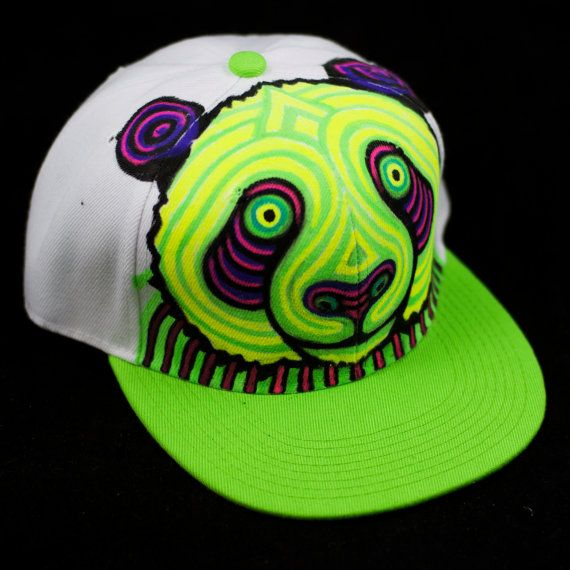 Neon Panda Hand Painted Snapback Hat by Manik Apparel