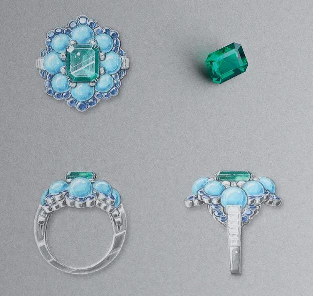 Ancône ring: White gold, round and baguette-cut diamonds, sapphires, turquoise beads, one octogonal-cut emerald of 3.28 carats (Colombia). © Van Cleef & Arpels - Gouaché