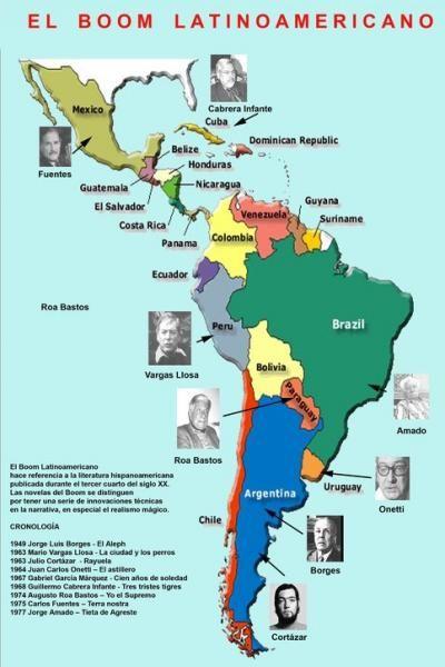 Mapa enseñando la nacionalidad de algunos autores del boom.