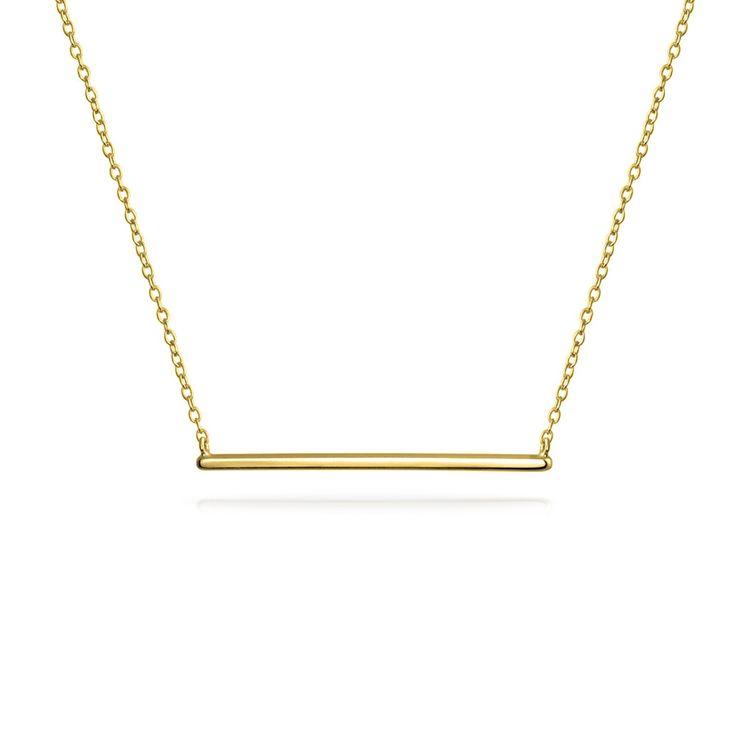 Ювелирные изделия с бриллиантами Gold Vermeil 925 Silver Modern Bar Pendant Necklace 16in