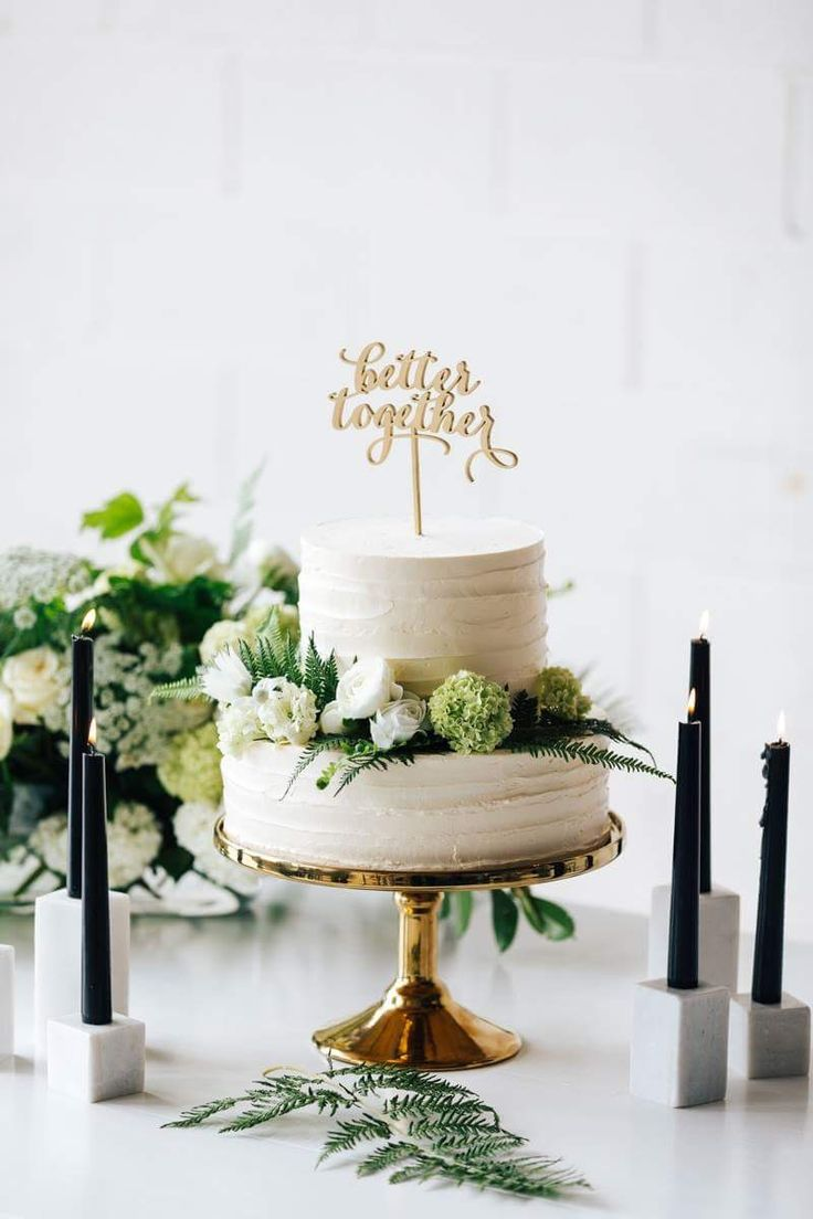 A minimalist wedding cake With our beautiful Gold Cake Stand, Better together cake topper and Marble Cube Candleholders. Cake by Eleos Cakes. Decor available for hire for Melbourne Customers Decor & Styling / The Small Things Co Melbourne Florals / Flos Botanical Studio Furniture & Place Settings / Complete Function Hire Stationary / Paper Provision Photography / Martin O Maras