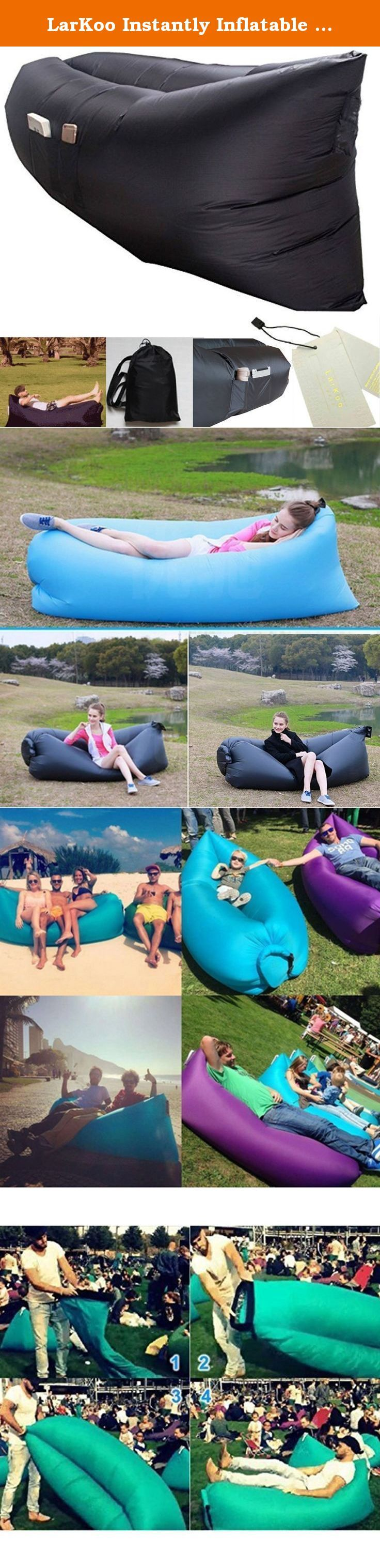 LarKoo Instantly Inflatable Hangout Lounger Lasy Bed with Storage Pouch Carry Bag, Air Sleep Sofa Chair Couch Portable Furniture, Sleeping Compression Air Bag For Camping, Beach Couch Sofa (Black). Outdoor Inflatable Lounger, ,LarKoo Inflatable Outdoor Air Sleep Sofa Couch Portable Furniture , Sleeping Compression Air Bag, Beach Lounger, Portable Dream Chair for Summer Camping Beach A recessed center area is designed to cradle anyone who lies down on the lounger, making the darn thing…