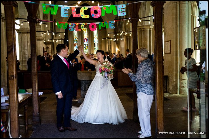 Cecilia and Dean, married at St John the Baptist church in Royston -