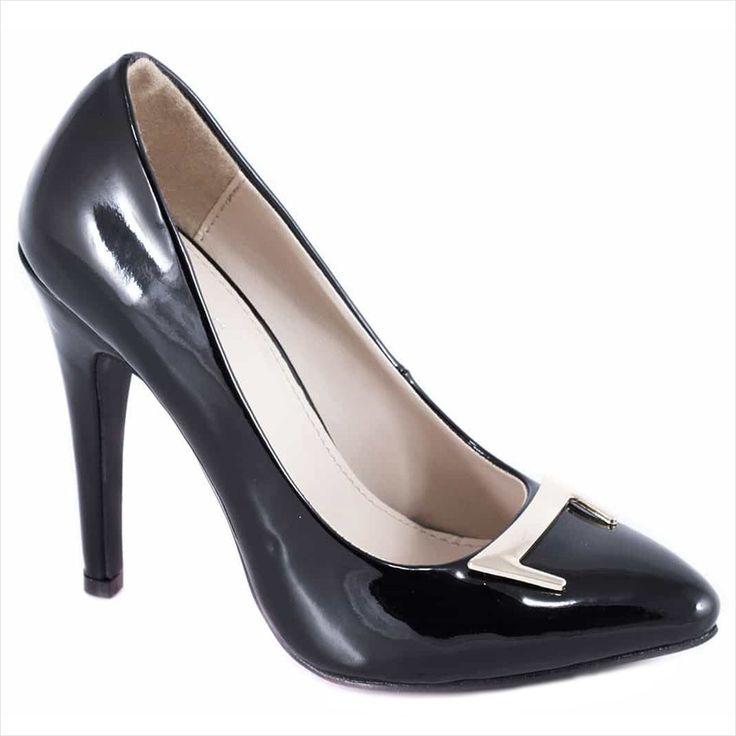 Pantofi negri cu toc 51936N - Reducere 60% - Zibra