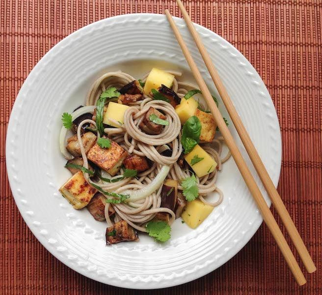 Soba Noodles with Tofu, Eggplant and Mango (Gluten Free)
