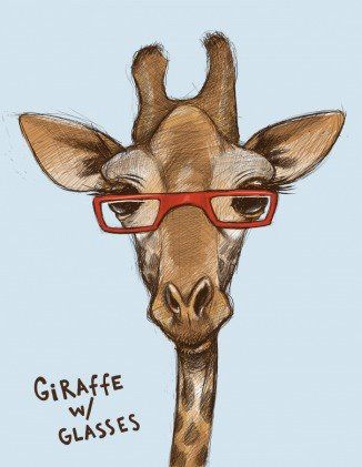 Giraffe with glasses! Look so smart & sassy! <3