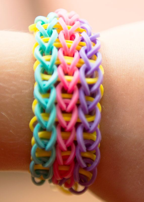 Rainbow Loom Rubberband Rubber Band Triple Friendship Bracelet, Stretchable Pink Blue Purple Lime Yellow