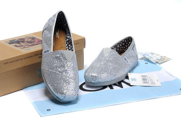 Silver Glitters classics Women TOMS Shoes