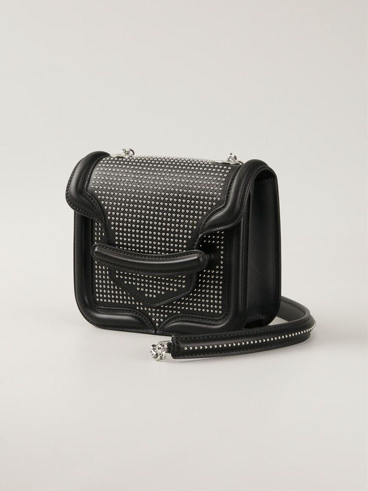 Black leather mini 'Heroine' shoulder bag from Alexander McQueen