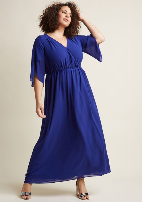 Chiffon Maxi Dress with 3/4 Sleeves in Cobalt