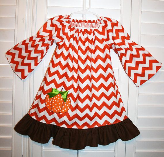 Thanksgiving Girls Peasant Dress Pumpkin Dress
