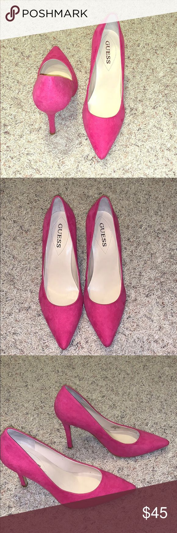 Hot pink suede stilettos Like new!!! Super sexy heels. Pair them with jeans, slacks or a dress. These are so versatile. Guess Shoes Heels