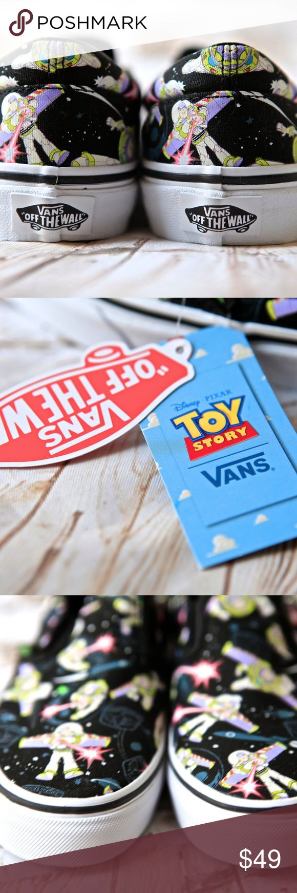 New DIsney Pixar Toy Story Bzz Slip on Kids Vans New DIsney Pixar Toy Story Bzz Slip on Kids Vans Limited Edition Size 3.0 In collaboration with Disney Pixar, Vans presents the Toy Story collection featuring Buzz Lightyear and the gang. Brand new with Tags. Perfect for back to school shoes 2017! Vans Shoes