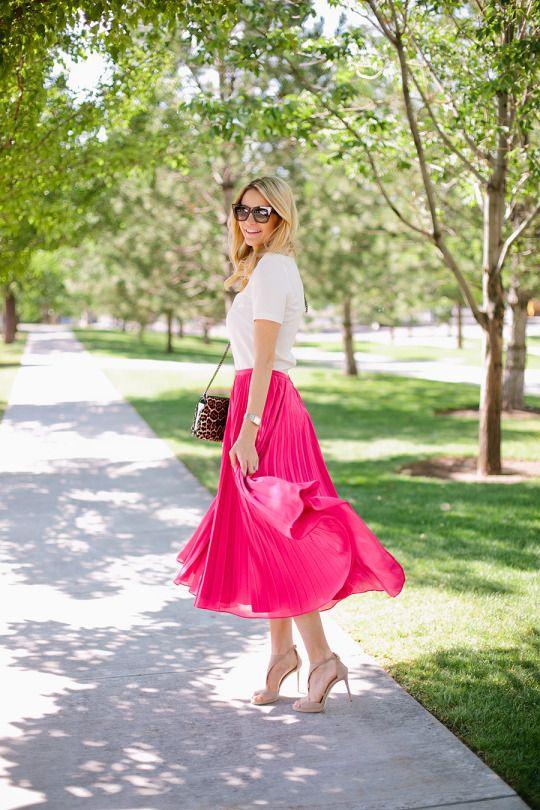 pink, midi skirt