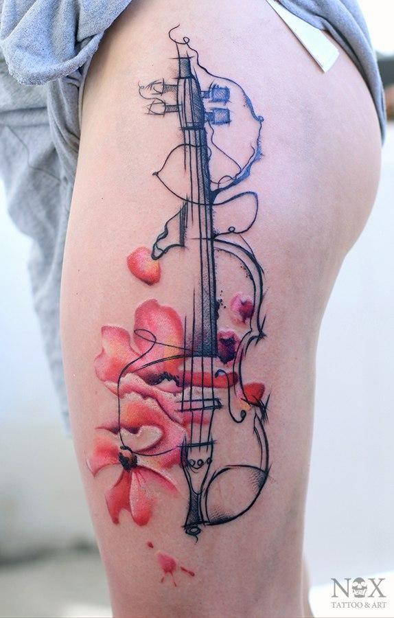 Surreal violin watercolor thigh tattoo by Russian tattoo artist - Matty Nox