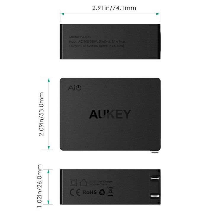 Aukey USB Universal Charger Travel Wall 4 Ports Adapter For iPhone Samsung…