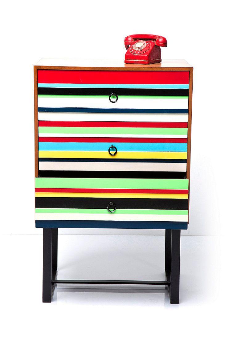 Three Drawer Dresser in Stripe Print