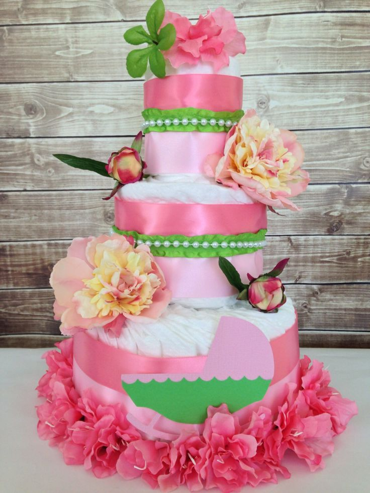 shabby chic bridal shower cakes%0A Boutique Shabby Chic Diaper Cake  Pink Baby Shower Diaper Cake by  AllDiaperCakes on Etsy https