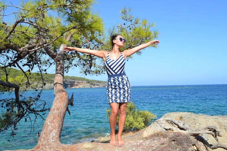 Beach wear Seahorses skirt with white navy bathing suit-perfect for summer