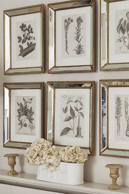 These prints were bought from an antique dealer in Camden Passage and paired with Venetian frames....Full details on Modern Country Style blog: Swedish/French Style Victorian House Tour