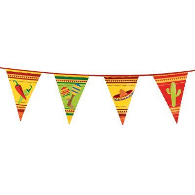 Mexicaanse vlaggenlijn 6 meter. Vrolijke vlaggenlijn met daarop afbeeldingen van sambaballen, rode pepers en Mexicaanse hoeden. De Mexico vlaggenlijn is ongeveer 6 meter lang.