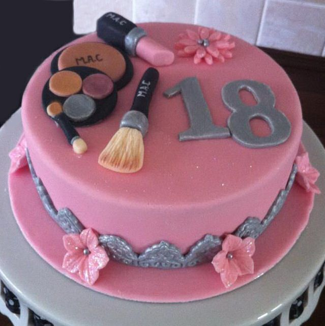 Makeup Cake....maybe with only fondant for the makeup and a monogram instead of 18