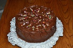 Bonnie Banters: Very Happy Birthday Pound Cake with Rich Chocolate Frosting