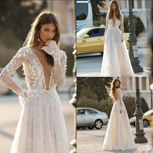 Bohemian Wedding Dresses, Deep V Neck Lace Appliques Wedding Dress,Backless A Line Long Sleeves Bridal Dresses,Tulle Lace Wedding Dresses,Applique Long Bridal Dress