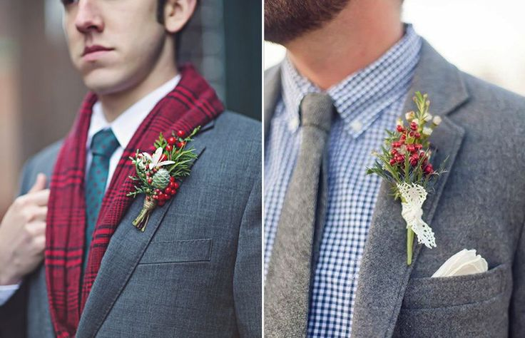 Red berries can be the perfect touch to a winter wedding and it looks stunning on the guys.