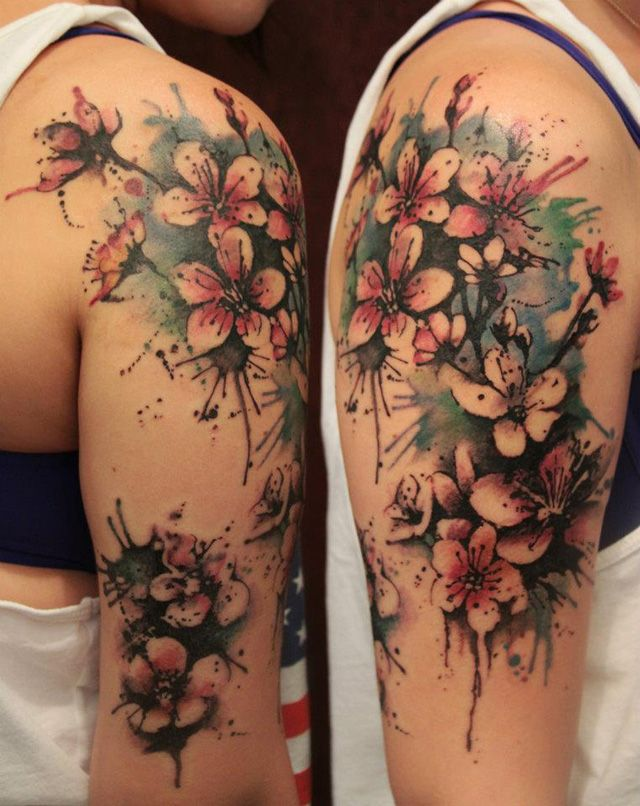 gene coffey, nyc. watercolour tattoo, girl sleeve