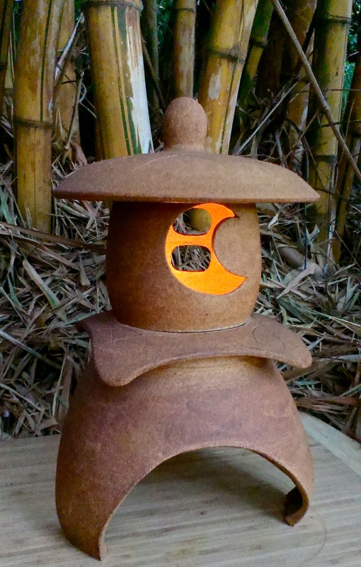 """Japanese Lantern with candelabra socket, Yukimi(snow viewing) lantern, Hand crafted ceramic stoneware, out garden or inside, 14""""H x 9""""W OOAK by AumakuaPottery on Etsy"""