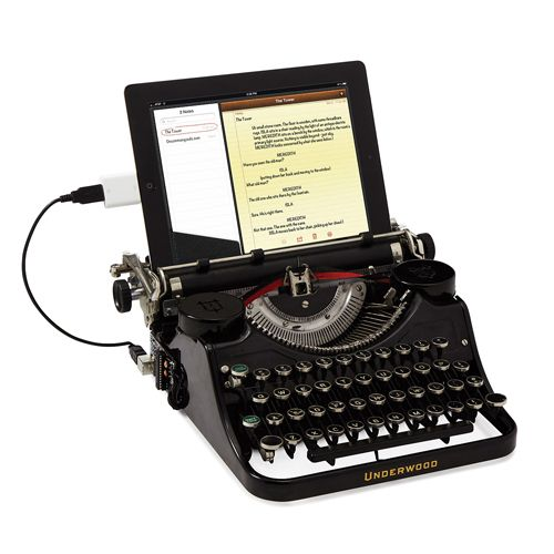Uncommon Goods USB Typewriter  If you're really into nostalgia, this pricey ($799) accessory docks your iPad on a fully functioning Underwood typewriter. Remember those? The USB Typewriter from Uncommon Goods works with any USB device, but to use it with your iPad you'll also need the Camera Connection Kit.