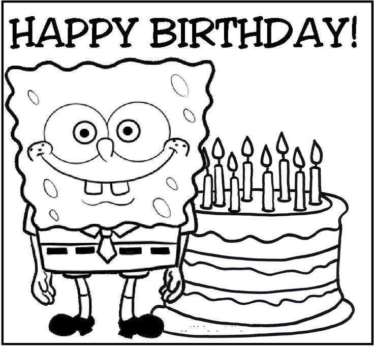 happy birthday for spongebob coloring picture for kids - Spongebob Coloring Pages Kids