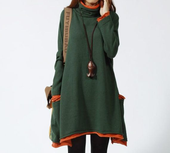 Long Sleeved wool Top cotton blouse casual loose by LYDRESS, $58.00